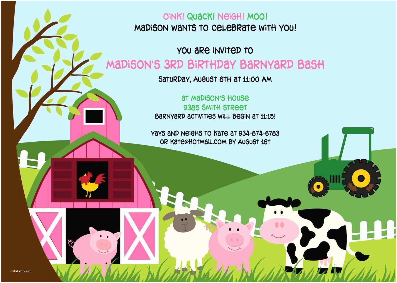 Barnyard Birthday Invitations Pink Barnyard Party Invitation