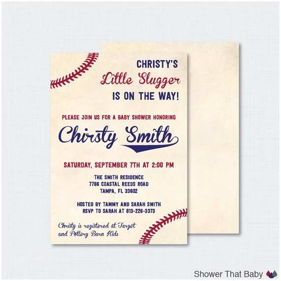 Baseball Baby Shower Invitations Baseball Baby Shower Invitation Printable or Printed Vintage