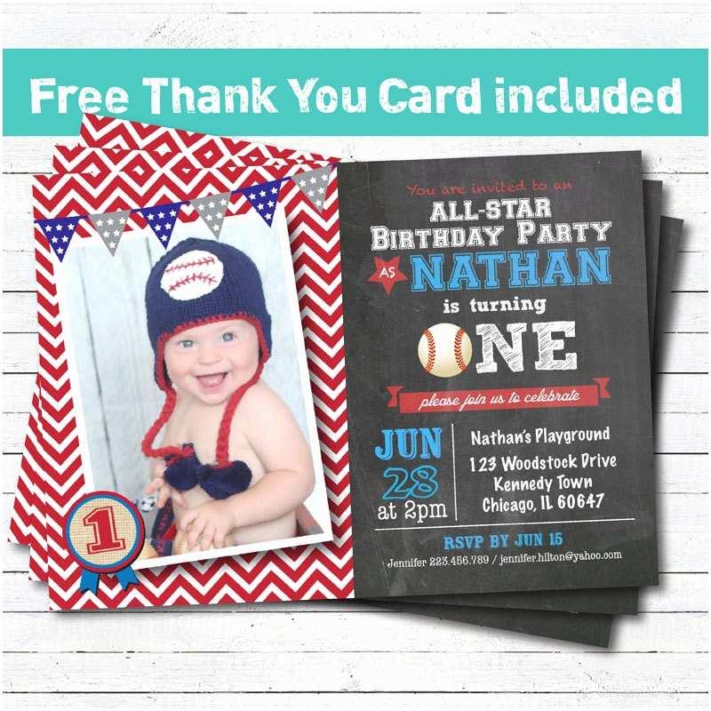 Baseball Birthday Invitations Baseball Birthday Invitation Baby Boy First 1st Birthday