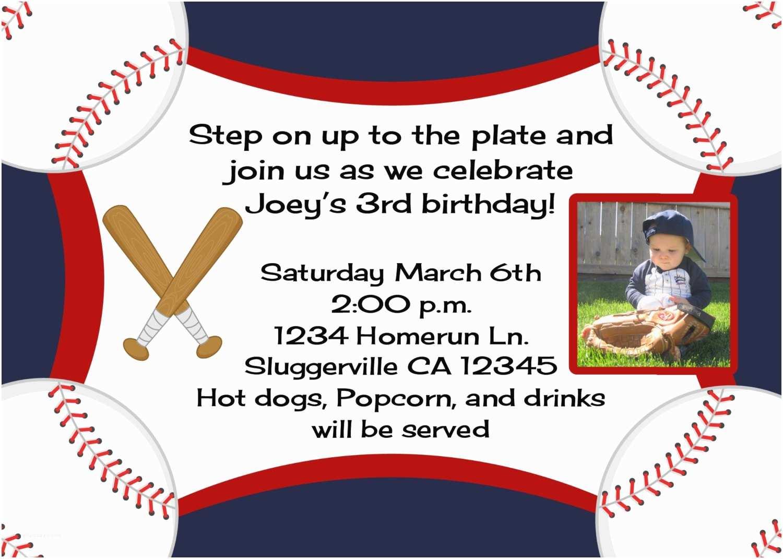 Baseball Birthday Invitations Baseball Birthday Invitation with Option Any Mlb or