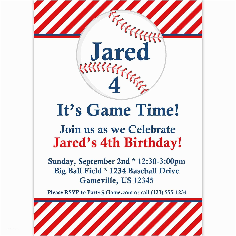 Baseball Party Invitations Baseball Invitation Red Striped Baseball Ball Personalized