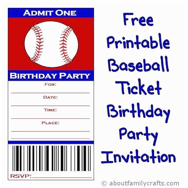 Baseball Party Invitations Baseball Ticket Birthday Party Invitation – About Family