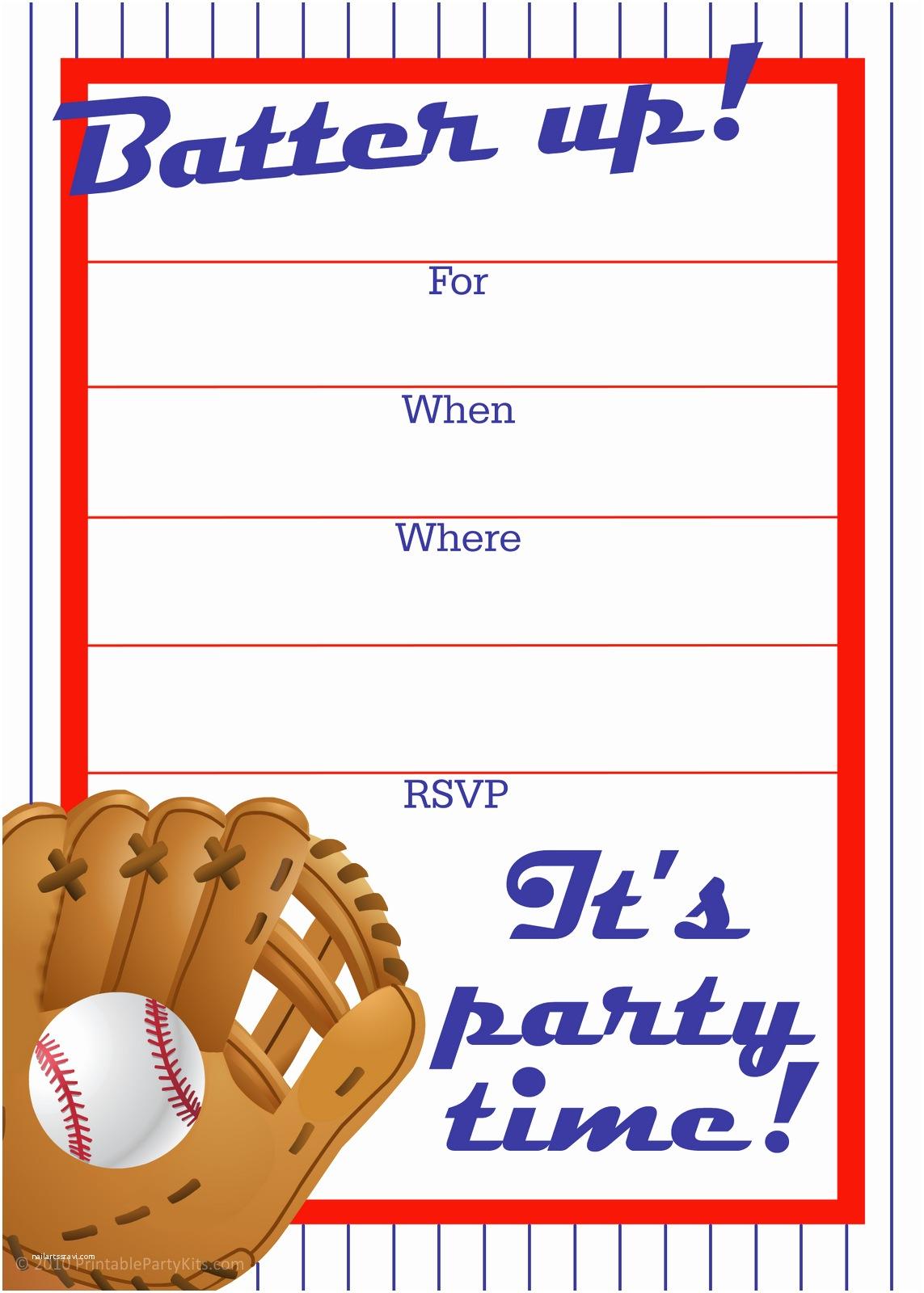 Baseball Party Invitations Free Printable Birthday Invitations for Boys Sports