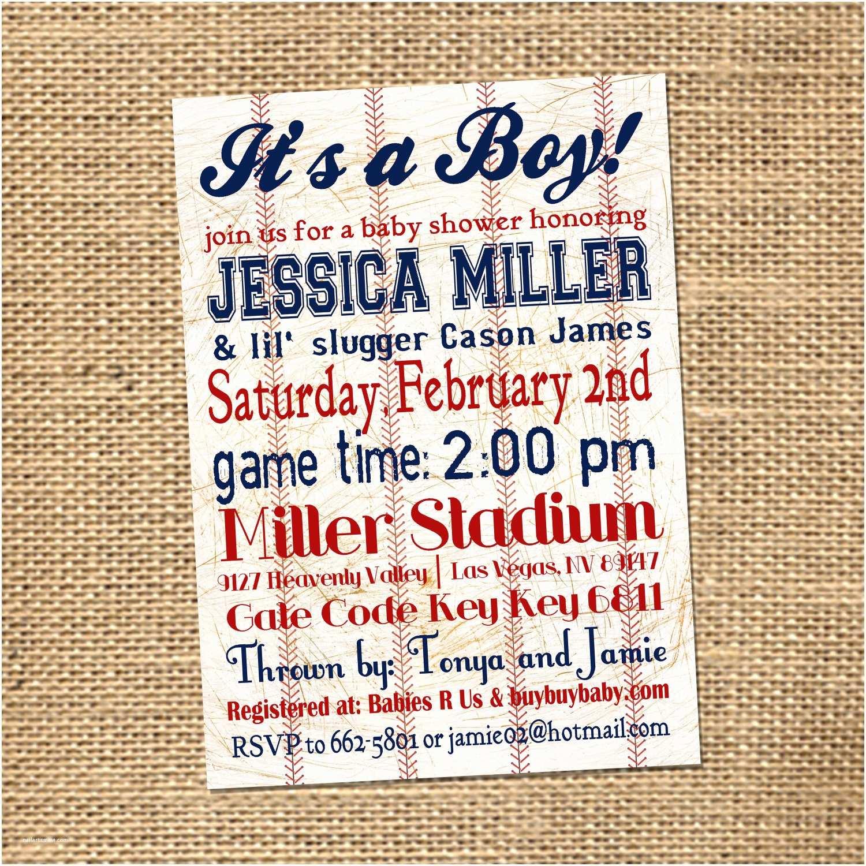 Baseball Themed Baby Shower Invitations 5x7 Custom Baseball Themed Baby Shower By