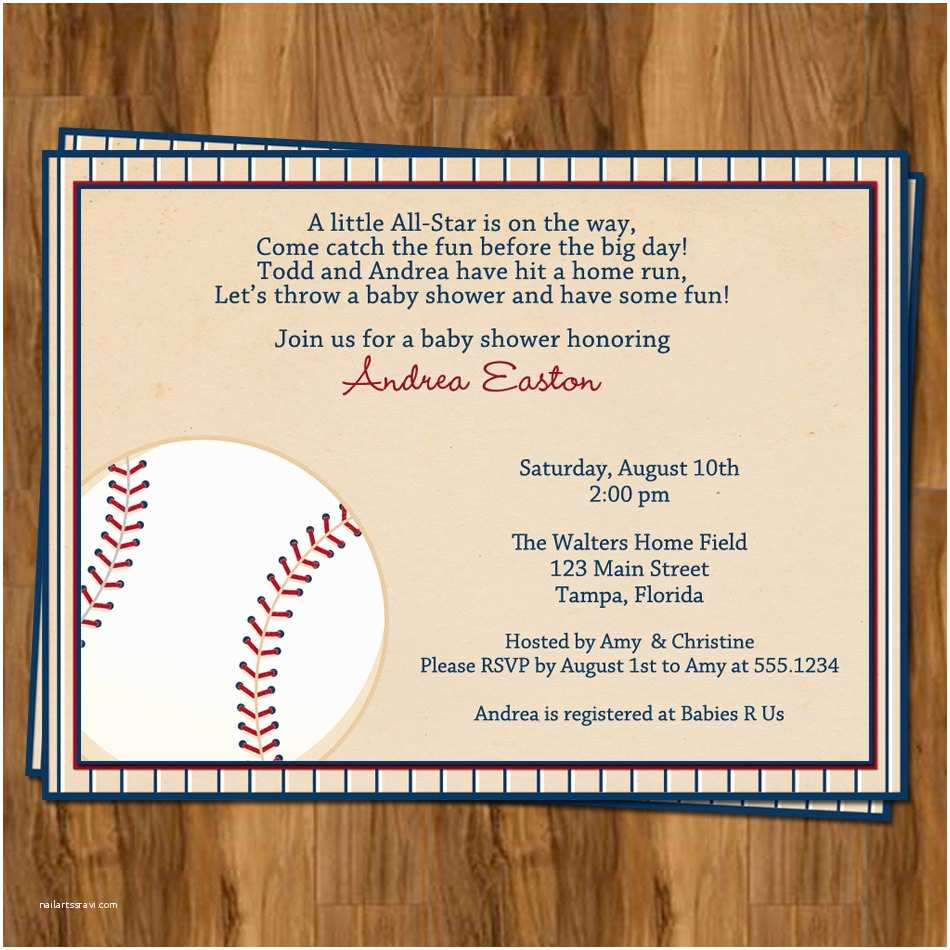 Baseball Themed Ba Shower Invitations Baseball Ba Shower Invitations For Sports