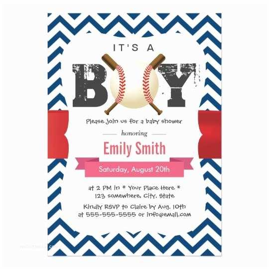 Baseball Themed Baby Shower Invitations Baseball Theme Blue Chevron It S A Boy Baby Shower