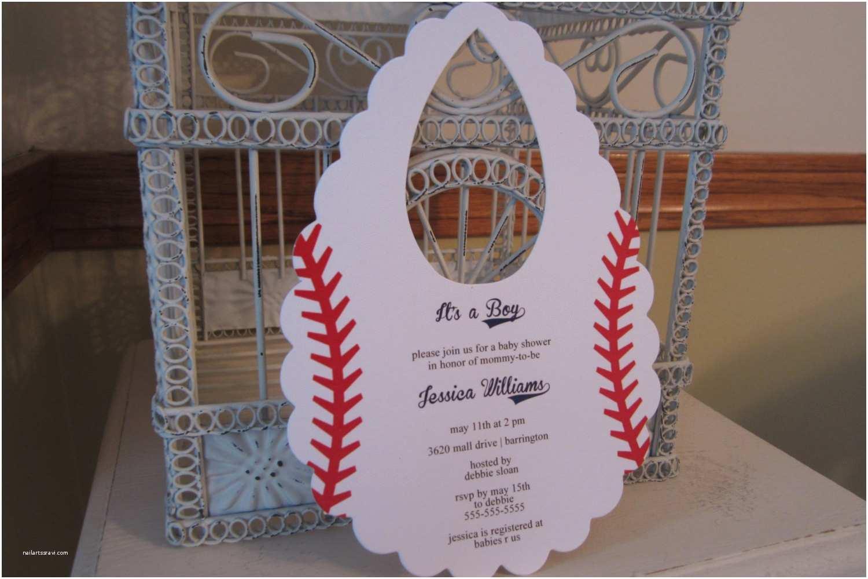 Baseball themed Baby Shower Invitations Baseball themed Baby Shower Invitation Custom Bib Die Cut