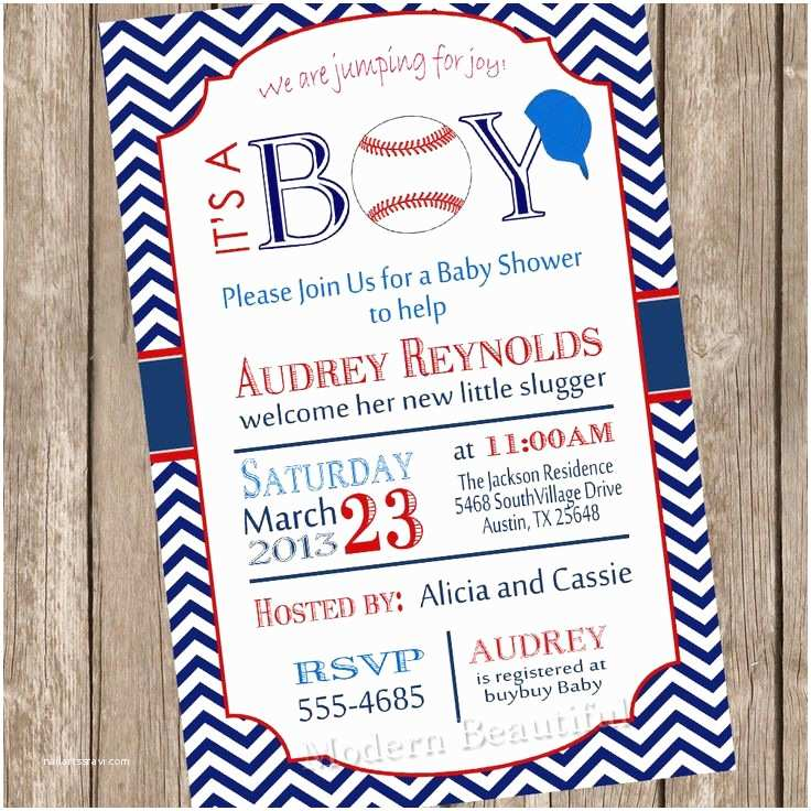 Baseball themed Baby Shower Invitations Chevron It S A Boy Baseball Baby Shower Invitation Red