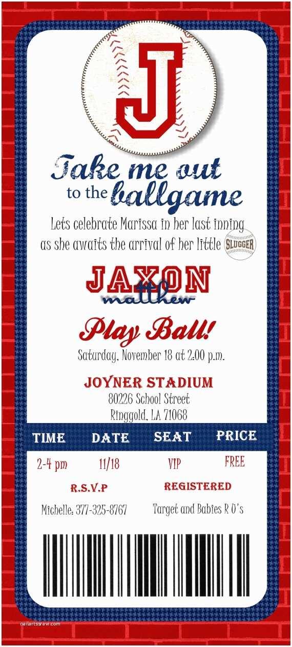 Baseball Themed Baby Shower Invitations Custom Printed Baseball Ticket Shower Or By