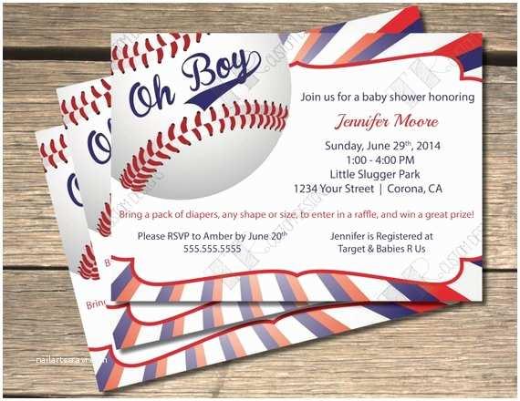 Baseball Themed Baby Shower Invitations Oh Boy Baseball Themed Baby Shower Invitation