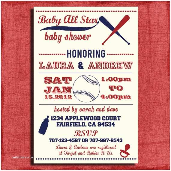 Baseball themed Baby Shower Invitations Printable Baby Shower Baseball themed 4x6 or 5x7