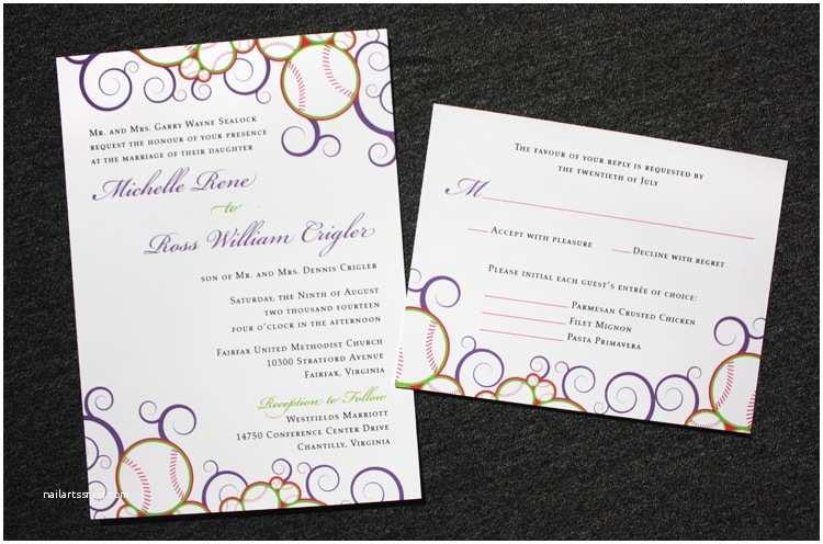 Baseball Wedding Invitations Purple Pink & Green Baseball themed Swirl Wedding