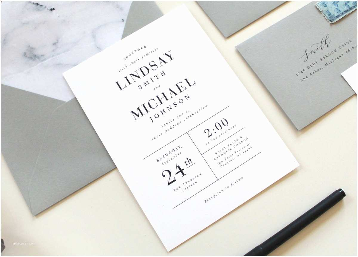 Basic Wedding Invitations Modern Wedding Invitations Modern Marble Wedding Invitation