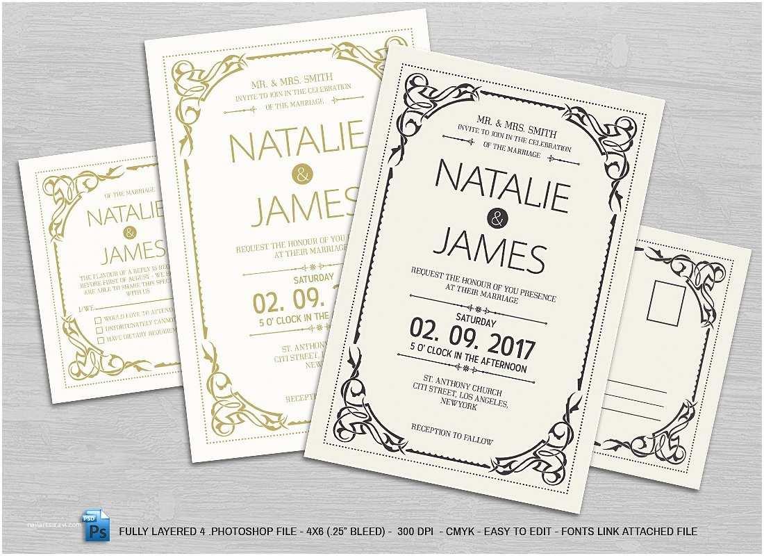 Basic Wedding Invitations Simple Wedding Invitation & Rsvp Invitation Templates