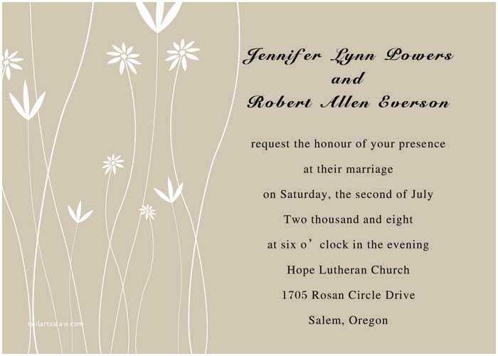 Basic Wedding Invitations Simple Wedding Invitation Wording