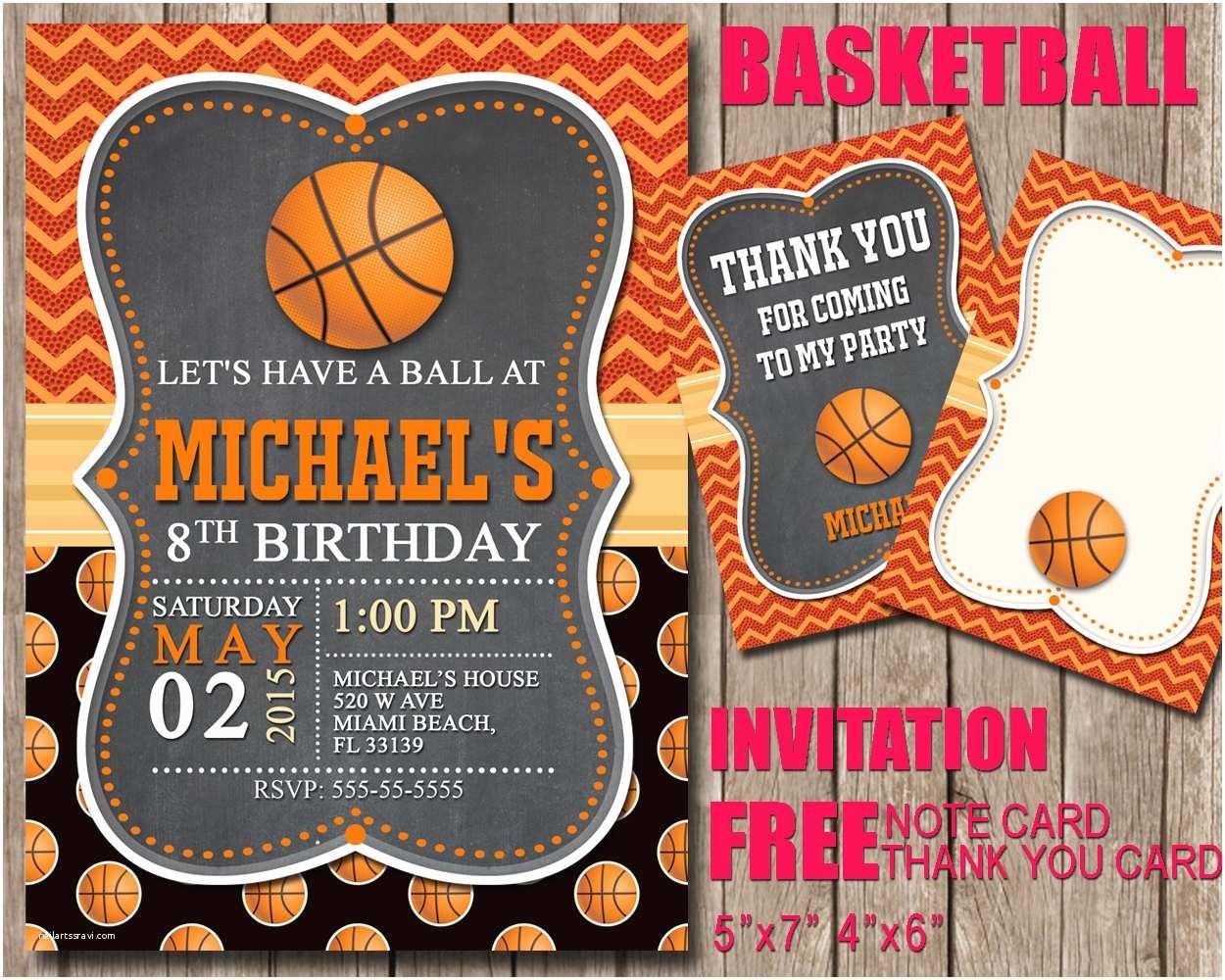 Basketball Birthday Invitations Basketball Invitation for Sport Birthday Party Sport