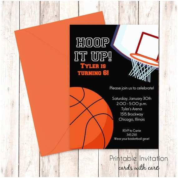 Basketball Birthday Invitations Basketball Invitation Printable Invitation Kids Birthday
