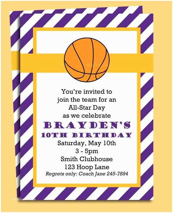 Basketball Party Invitations Basketball Invitation Printable You Pick Colors by