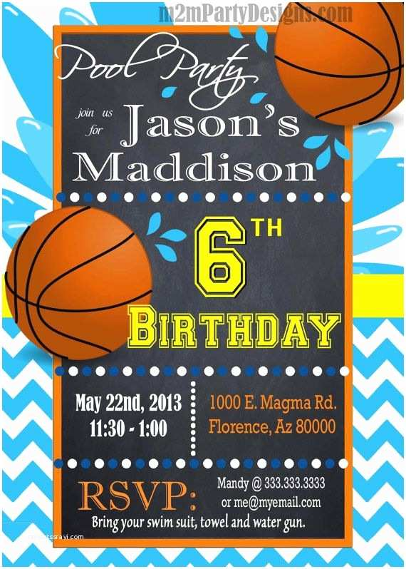 Basketball Party Invitations Basketball Pool Party Invitation Custom Pool by