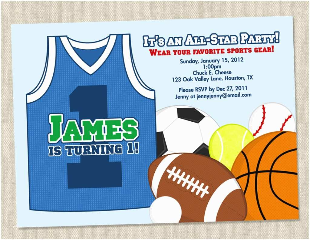 sports birthday party basketball theme birthday invitations wording for boys with plain blue background color and sportations clip art