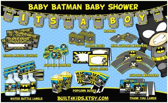 Batman Baby Shower Invitations Baby Batman Baby Shower Party Package Instant Download