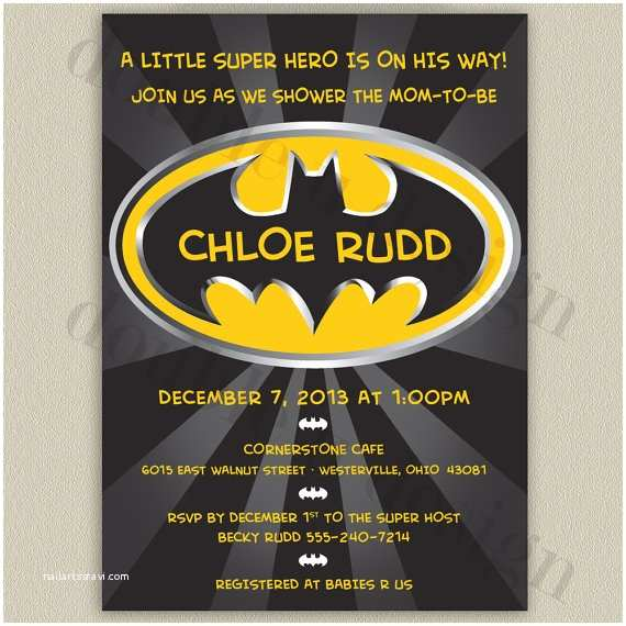 Batman Baby Shower Invitations Batman Baby Shower Invitation Personalized Printable