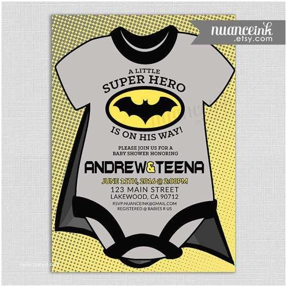 Batman Baby Shower Invitations Batman Baby Shower Invitations Superhero Black Yellow by