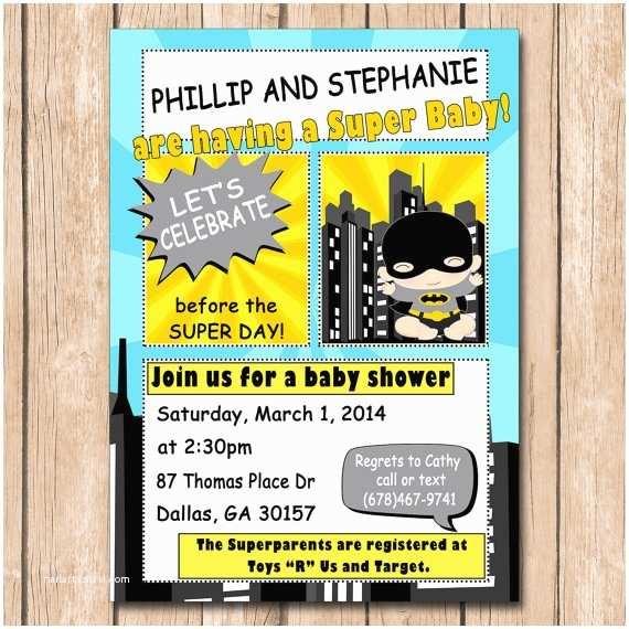 Batman Baby Shower Invitations Superhero Baby Shower Invitation Batman by