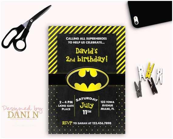 Batman Birthday Invitations Batman Birthday Party Invitation Black and Yellow