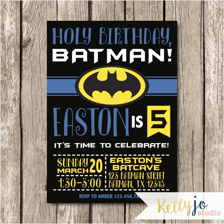 Batman Birthday Invitations Batman Birthday Party Invitation Yellow Black and Blue