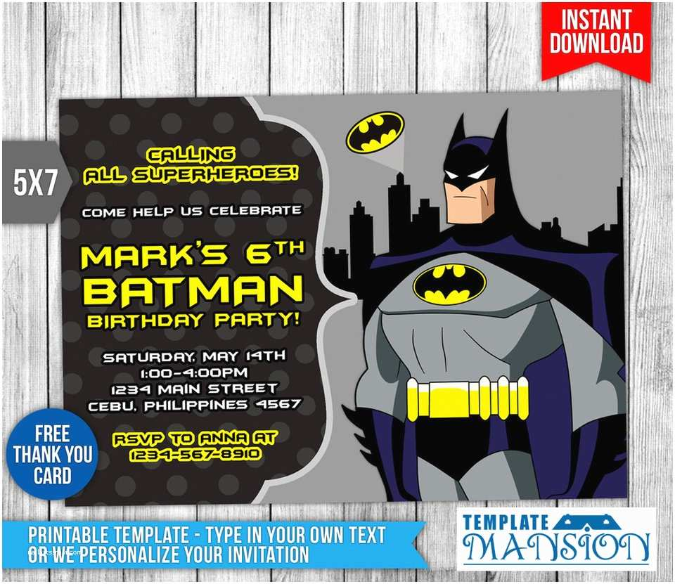 Batman Birthday Invitations Batman Invitation Batman Birthday Invitation Psd by