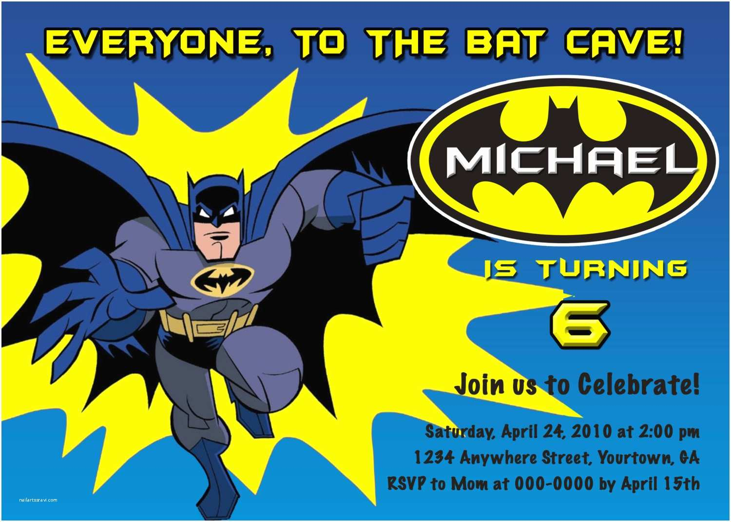 Batman Party Invitations Personalized Birthday You By