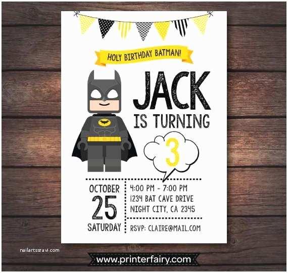 Batman Party Invitations Lego Batman Birthday Party Lego Batman Invitations by
