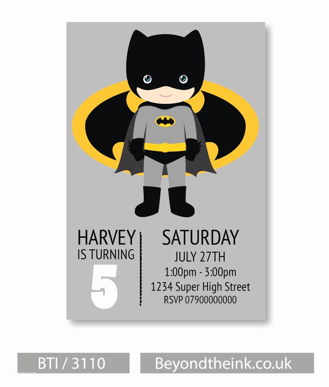 Batman Party Invitations Personalised Batman Invitation