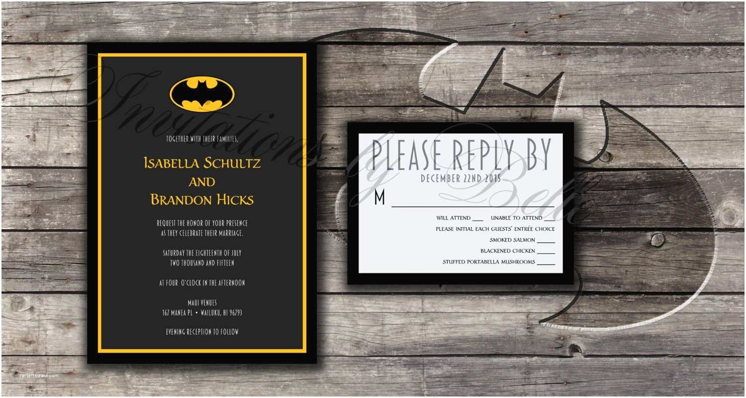 Batman Wedding Invitations Batman Symbol Wedding Invitation Set Bat Dc Ics by