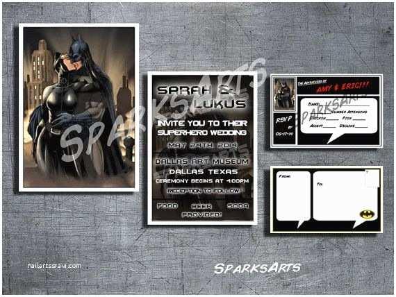 Batman Wedding Invitations Superhero Wedding Batman & Catwoman Invitation Set