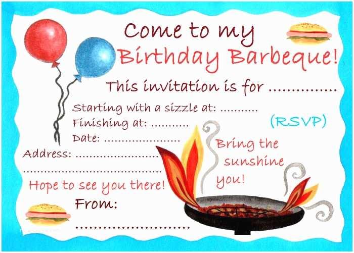 Bbq Party Invitation Birthday Barbeque Invitation