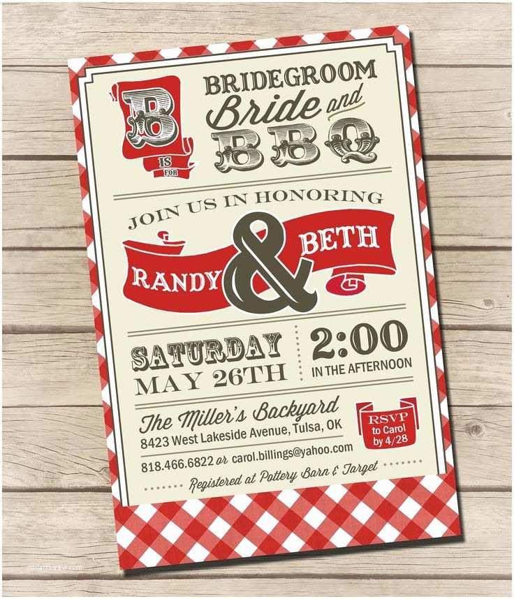 Bbq Wedding Invitations Printable Vintage Bbq Wedding Couples Shower