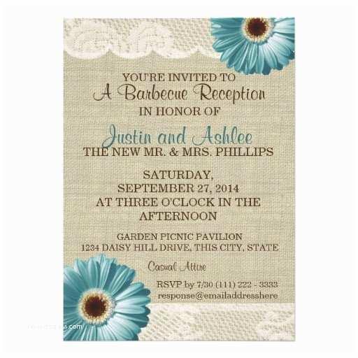 Bbq Wedding Invitations Teal Daisy and Burlap Bbq Wedding Reception 5x7 Paper