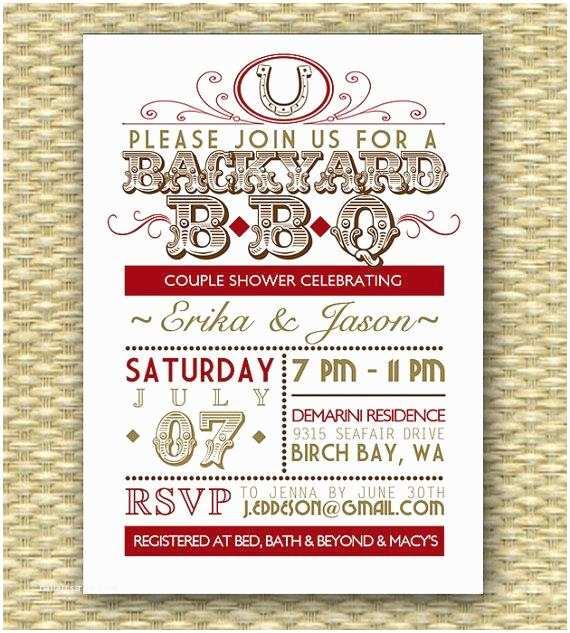 Bbq Wedding Shower Invitations Country Western Bbq Couples Shower Invitation Bridal