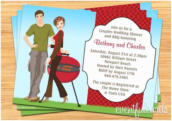 Bbq Wedding Shower Invitations Couple Bbq Wedding Shower Invitation