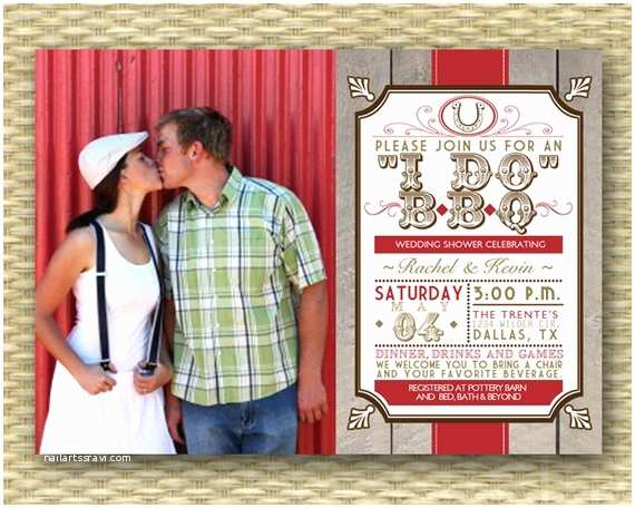 rustic country bbq wedding shower invitation