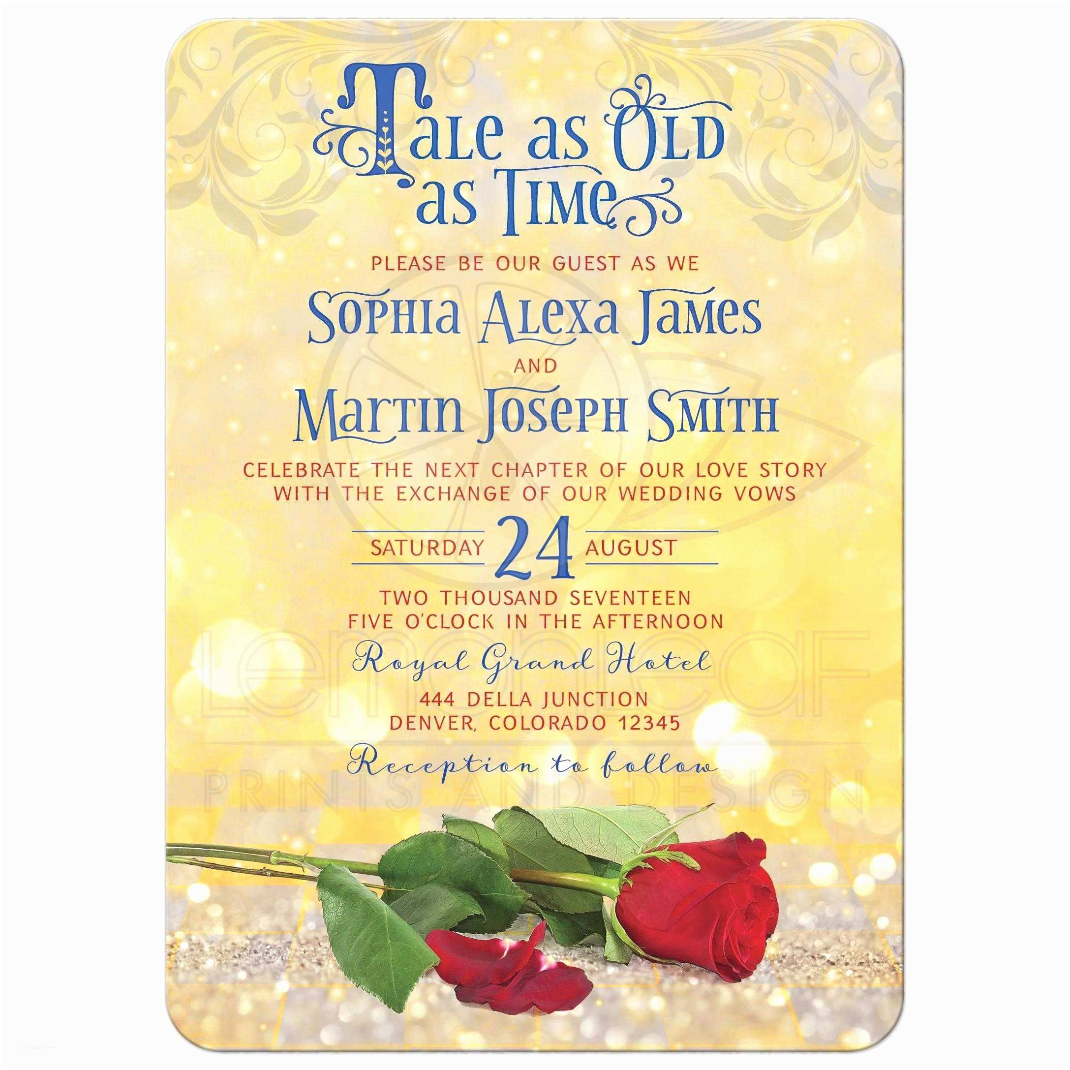 Be Our Guest Wedding Invitations Fairytale Tale as Old as Time Wedding Invitation