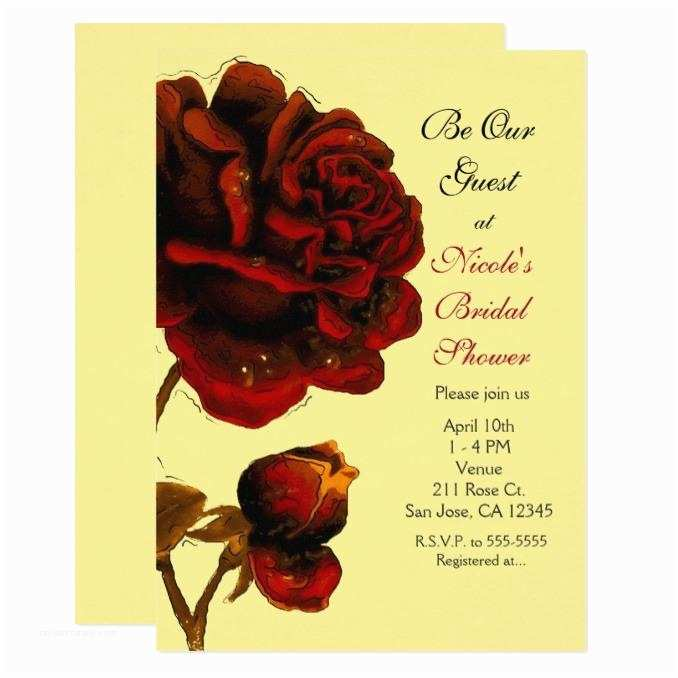 Be Our Guest Wedding Invitations Red Roses Be Our Guest Any Color Party Invitation