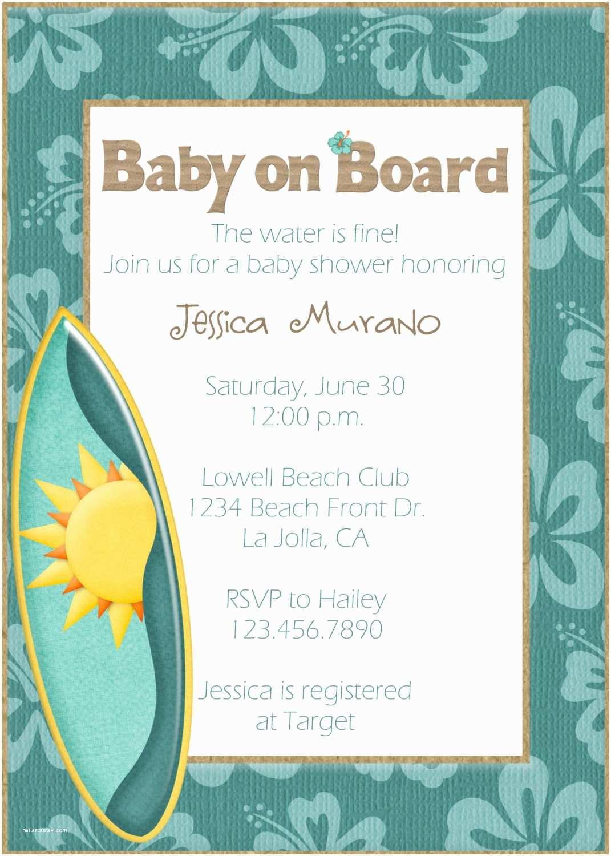 Beach Baby Shower Invitations Baby Shower Invitations Beach theme