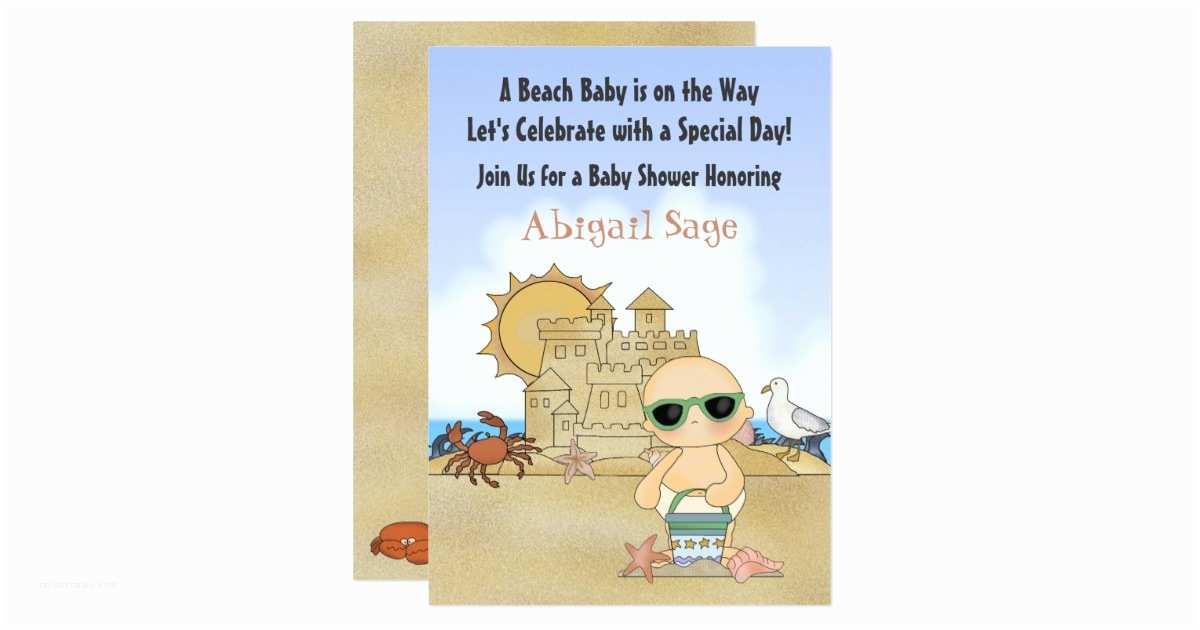 cool beach baby shower invitation neutral