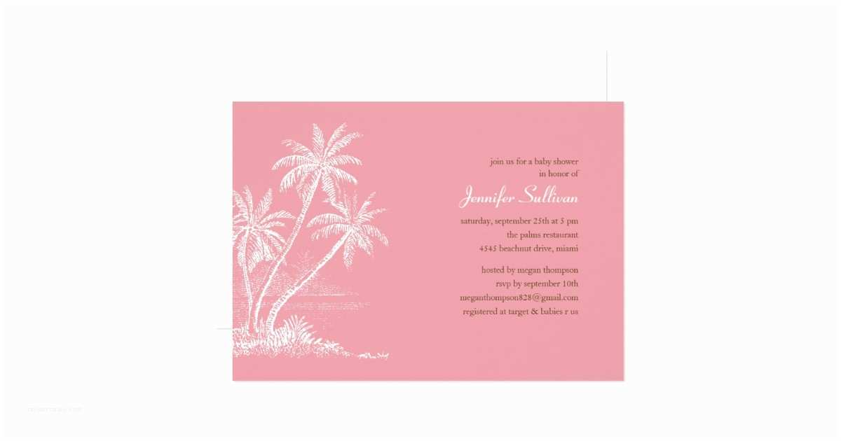 Beach Baby Shower Invitations Pink Beach Baby Shower Invitations