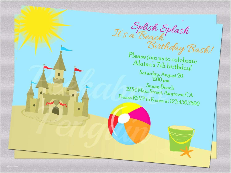 Beach Birthday Invitations Beach Birthday Invites Sand Castle Invitations Kid S
