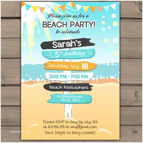 Beach Birthday Invitations Beach Party Invitation Beach Invitation Beach Birthday