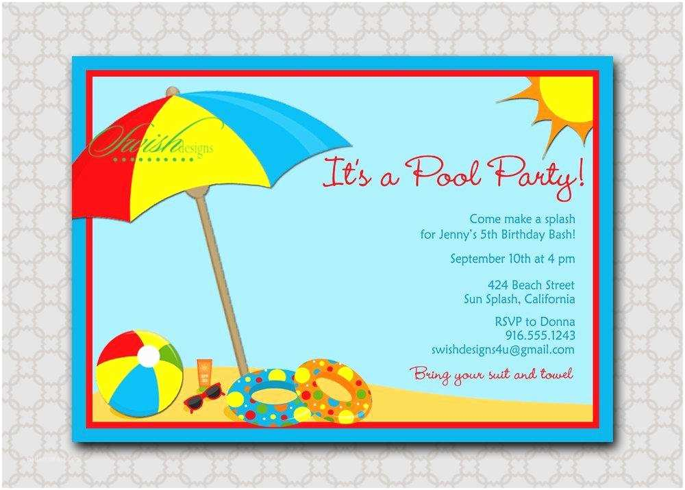 Beach Birthday Invitations Beach theme Party Invitations A Birthday Cake